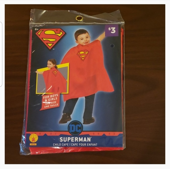 Superman Child Cape RED DC Superheroes Rubie's Costume Boys Girls ONE SIZE